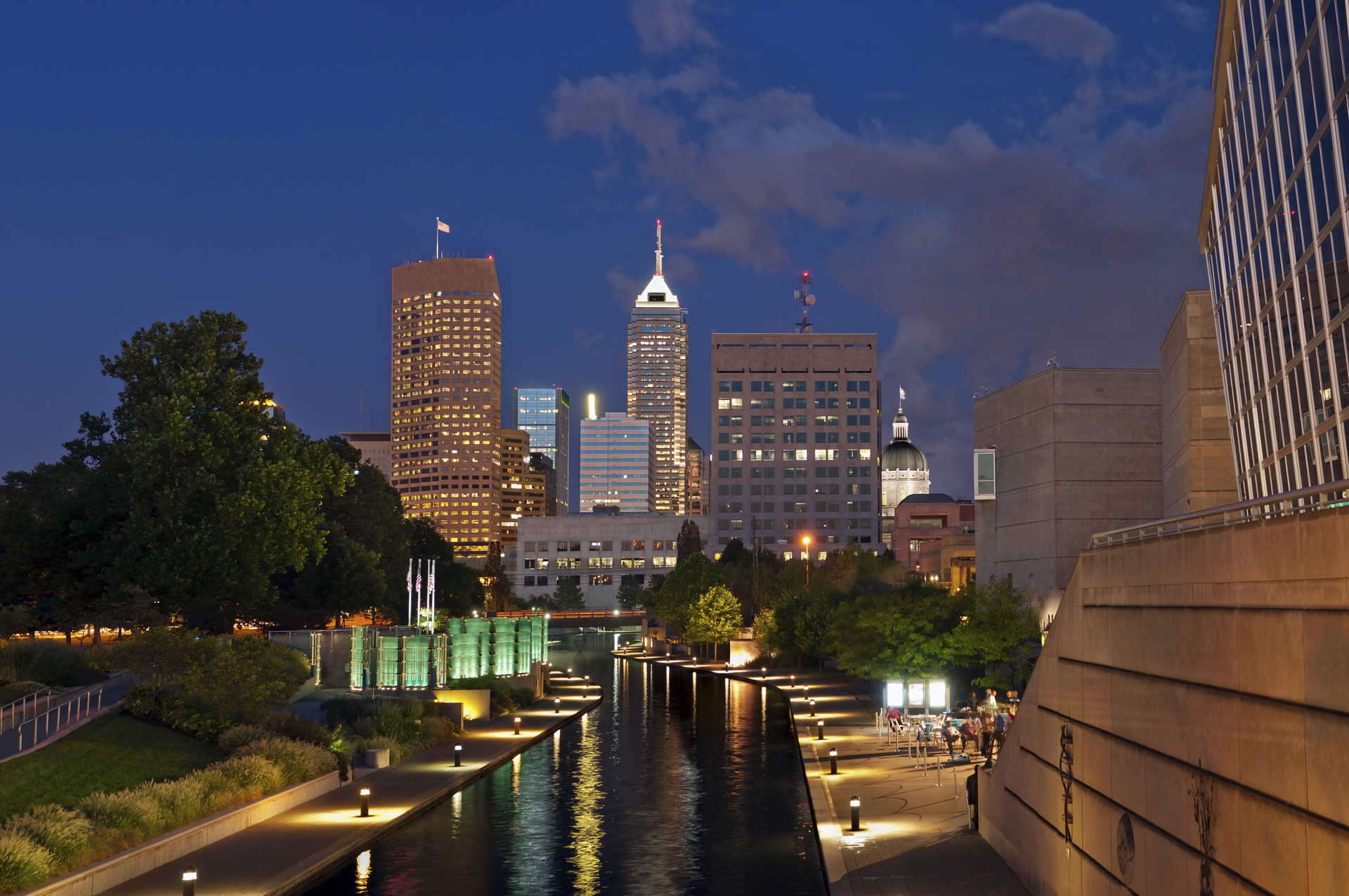 Indianapolis at Night with Canal